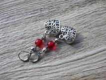 Náušnice - Visiace filigránové plné srdiečka červené č.884 - 8085049_