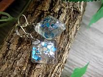 Náušnice - Ľadové kocky so srdiečkami - živicové náušnice č.887 - 8087172_