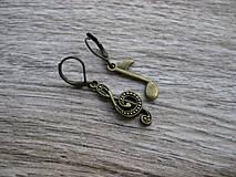Náušnice - Husľový kľúč a nota pre hudobníčku č.888 - 8087192_