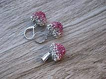 Sady šperkov - Šatónové srdiečka ružové - sada ( rhodium) č.889 - 8087797_
