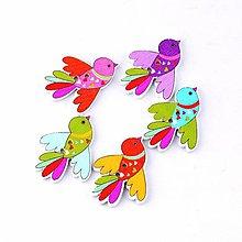 Galantéria - Drevený gombík Farebný vtáčik 5ks - 8084899_