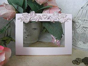 Rámiky - Fotorámik ružový... / anjeliky - 8085199_