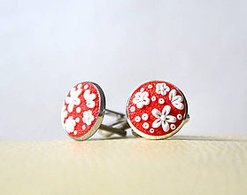Šperky - Folk manžetové gombíky červené - Anička - 8091532_