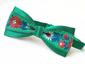 Doplnky - Folklórny pánsky motýlik (zelený) - 8089131_