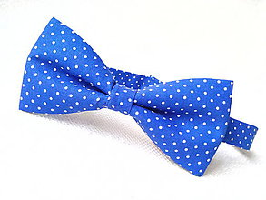 Doplnky - Blue bow tie with small white polka dots - 8089268_