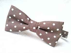Doplnky - Brown bow tie with white polka dots - 8089363_