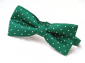Doplnky - Dark green bow tie with small white polka dots - 8089401_