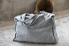Veľké tašky - Veľká ľanová taška s vreckom. - 8090367_