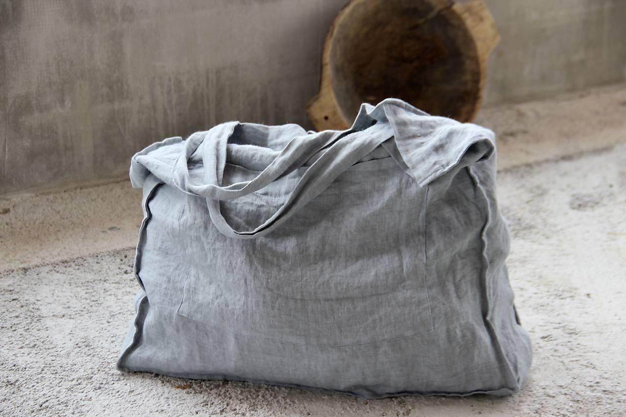 Veľká ľanová taška s vreckom