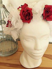Ozdoby do vlasov - Parta s červenými ružami v bielom - party - 8090967_