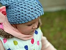 Detské čiapky - Rifľové srdce: vypraná modrá - 8089156_