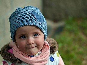 Detské čiapky - Rifľové srdce: vypraná modrá - 8089160_