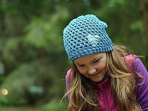 Detské čiapky - Rifľové srdce: modrá - 8089164_