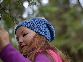 Detské čiapky - Rifľové srdce: modrá - 8089167_