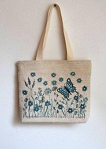 Iné tašky - Plátená taška s motýľom - 8091192_