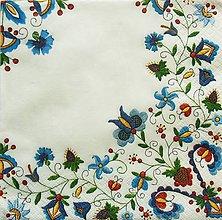 Papier - S964 - Servítky - folklór, výšivka, ornament, kvietky, vidiek, natur - 8091569_