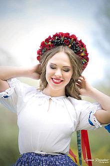 Ozdoby do vlasov - Ľudová kvetinová parta s hroznom - 8092506_