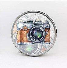 Krabičky - Plechová krabička okrúhla fotoaparát - 8092359_