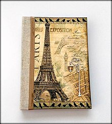 Papiernictvo - Ručne šitý cestovateľský denník/diár/zápisník ,, Paríž I love you\