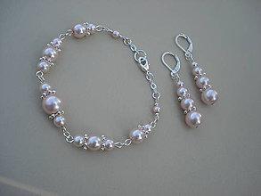Sady šperkov - Jemne ružový perlový set-náramok+náušnice - 8090797_