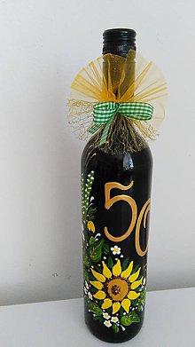 Darčekové poukážky - Maľovaná fľaša vína - 8089537_