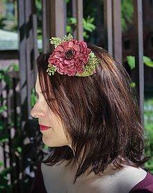 Ozdoby do vlasov - vínová květina do vlasů - 8090802_