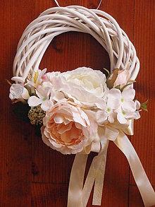 Dekorácie - Marhuľovo - ivory venček - 8092516_