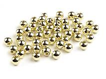 - Korálky 6mm, 30 ks - plastové (metalic zlaté) - 8090566_