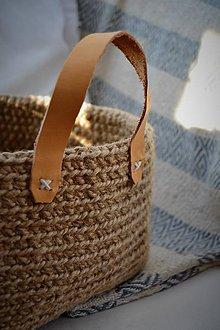 Košíky - Jutový košík s koženými úchytkami - 8091677_