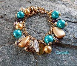 Náramky - Tyrkys a zlatá - luxusný náramok - 8093527_