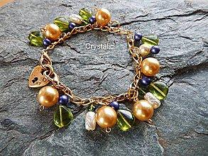 Náramky - Zlato a olivín zelená - luxusný náramok - 8093563_