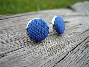 Náušnice - Náušnice Modré Buttonky - 8095962_