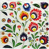 Papier - S966 - Servítky - folklór, výšivka, polish folk, ľudová, kvet, kvietky - 8094599_