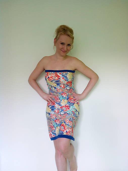 95dd9676866a Modré vzorované letné   Cyclotella - SAShE.sk - Handmade Šaty