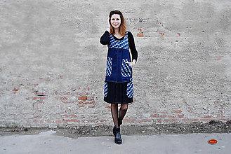 Šaty - šaty v prodloužené verzi-mix denim/kostka/manšestr - 36,38,40 - 8093381_
