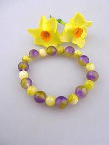 Náramky - achát jadeit náramok - fialky a prvosienka - 8093268_
