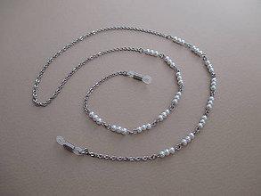 Iné šperky - Retiazka na okuliare-chirurgická oceľ s bielymi perlami - 8092870_