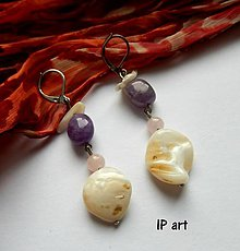 Náušnice - Ametyst a perleť - náušnice - 8093362_