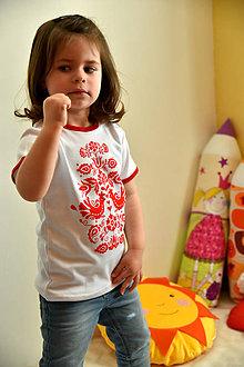 Detské oblečenie - Detské tričko s ľudovým motívom Jablonické vtáča - 8094101_