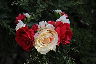 Ozdoby do vlasov - Kvetinová čelenka do vlasov - Červená čiapočka - 8095921_