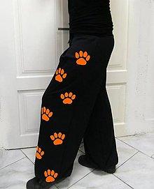 Nohavice - Tepláky s tlapkami, oranž.. - 8096115_