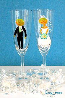 Darčeky pre svadobčanov - Svadobné poháre ♥ženích a nevesta ♥ - 8095058_