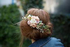 """Ozdoby do vlasov - Kvetinový hrebienok """"mäkké objatie"""" - 8093623_"""