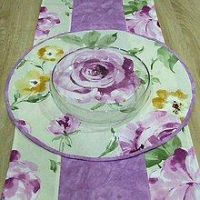 Úžitkový textil - Veľké kvety s mramorom - kruhový obrus ø 50 - 8095832_