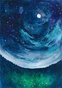 Obrazy - Midnight, akvarel - 8093886_