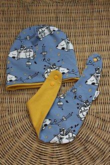 Detské čiapky - Horčicový myšiak - čiapka , nákrčnik - 8096246_
