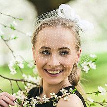 Ozdoby do vlasov - Wedding Fascinator Bow (fascinator samostatný) - 8098781_