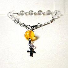 Náramky - Rosary Stainless Steel Quartz and Citrine Bracelet / Ruženec na ruku s krištáľom a citrínom (chirurgická oceľ) /0585 - 8097971_