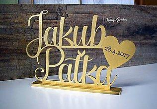 Dekorácie - zlatý nápis na svadobný stôl - 8098539_