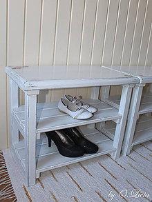 Nábytok - Lavičko - botník, biela patina - 8096614_
